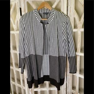 Misook brown square striped pattern cardigan